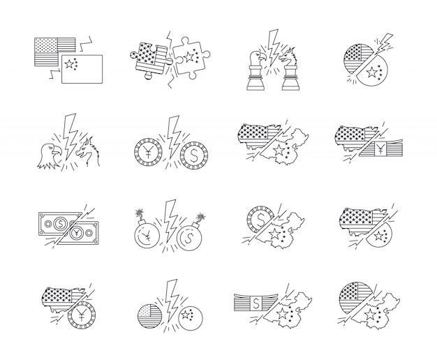 Conjunto de iconos de guerra comercial entre china y usa