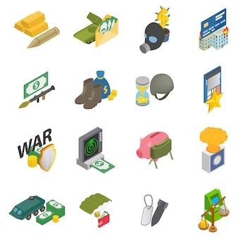 Conjunto de iconos de la guerra de dinero