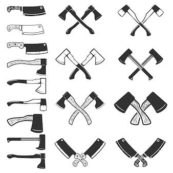 Conjunto de los iconos de hacha sobre fondo blanco. cuchillo de carnicero. elemento para logotipo, etiqueta, emblema, signo, cartel. ilustración.