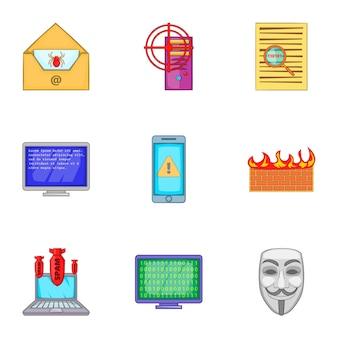 Conjunto de iconos de hacker, estilo de dibujos animados