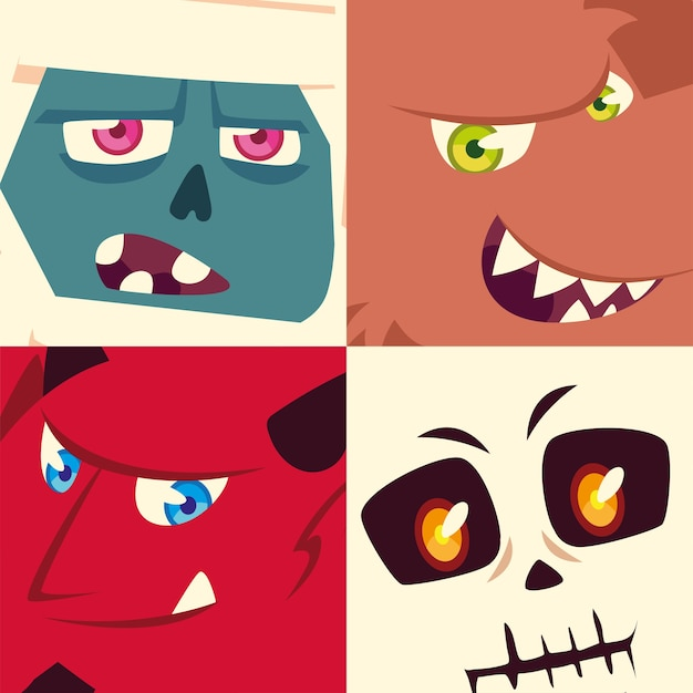 Conjunto de iconos de halloween con cabezas de momia, fantasma, esqueleto y diablo