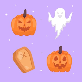 Conjunto de iconos de halloween colección dibujada a mano.