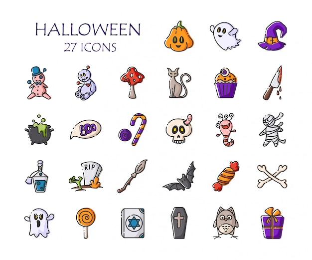 Conjunto de iconos de halloween - esquema de vector aislado calabaza, fantasma, monstruo, escoba, murciélago, caramelo, cráneo, muñeco vudú