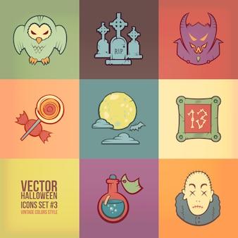 Conjunto de iconos de halloween. estilo de colores vintage