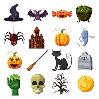 Conjunto de iconos de halloween. ilustración de dibujos animados de 16 iconos de vector de halloween para web