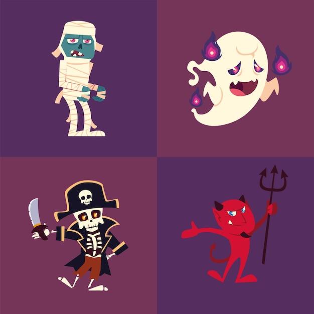 Conjunto de iconos de halloween con momia, fantasma, esqueleto y diablo