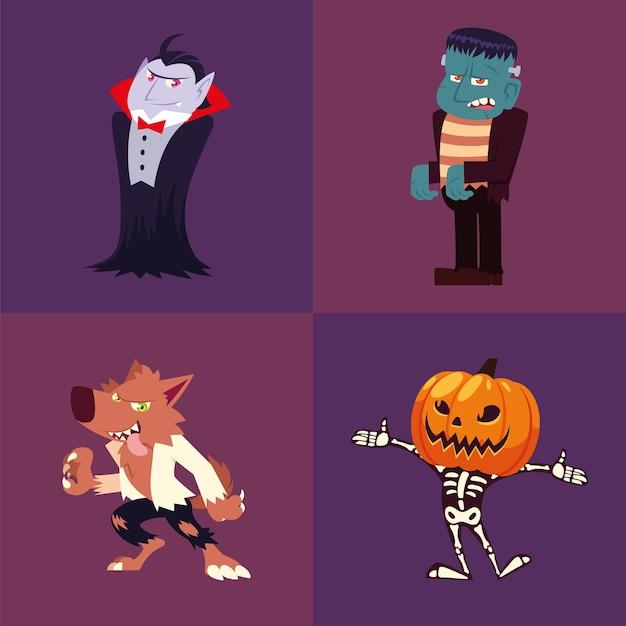 Conjunto de iconos de halloween con vampiro, frankenstein, hombre lobo, calabaza y esqueleto