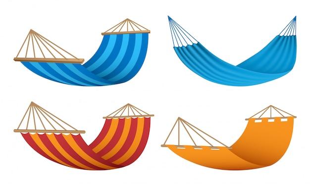 Conjunto de iconos de hamaca, estilo realista