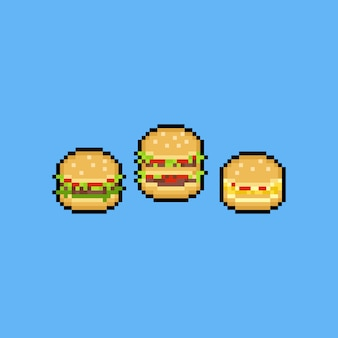 Conjunto de iconos de hamburguesa de pixel art