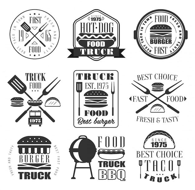 Conjunto de iconos de hamburguesas y comida rápida.