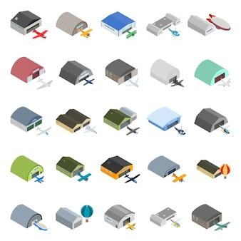 Conjunto de iconos de hangar de aire