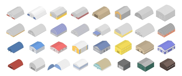Conjunto de iconos de hangar, estilo isométrico