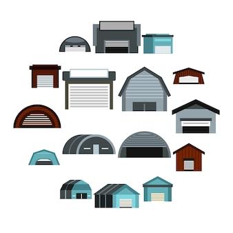 Conjunto de iconos de hangar, estilo plano