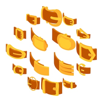 Conjunto de iconos de hebilla de cinturón, estilo isométrico