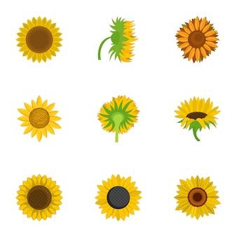 Conjunto de iconos de helianthus, estilo de dibujos animados