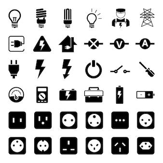 Conjunto de iconos de herramienta de electricidad y zócalo