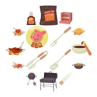 Conjunto de iconos de herramientas barbacoa, estilo de dibujos animados