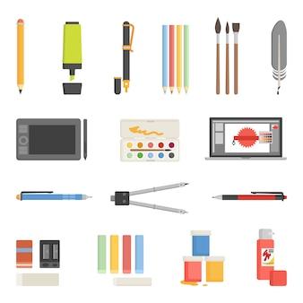 Conjunto de iconos de herramientas de dibujo plano