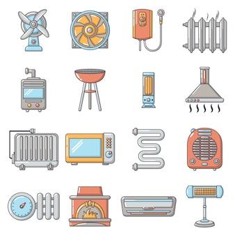 Conjunto de iconos de herramientas de flujo de aire fresco frío