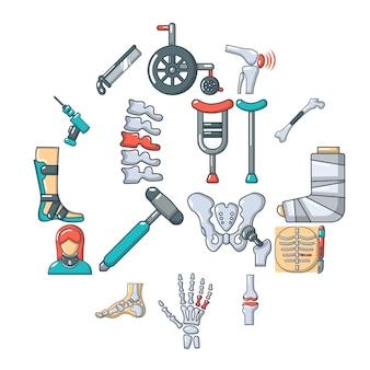 Conjunto de iconos de herramientas de hueso ortopedista, estilo de dibujos animados