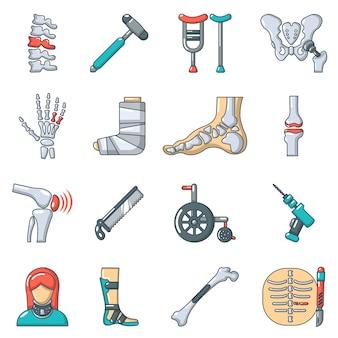 Conjunto de iconos de herramientas de hueso ortopedista