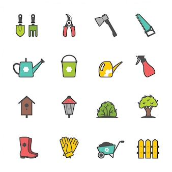 Conjunto de iconos de herramientas de jardín y accesorios