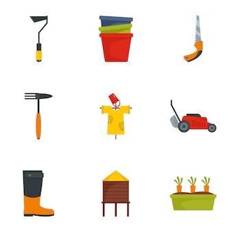 Conjunto de iconos de herramientas de jardín, estilo plano