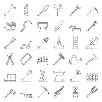 Conjunto de iconos de herramientas de jardinería, estilo de contorno