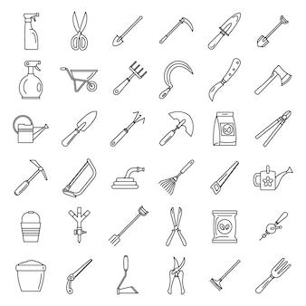 Conjunto de iconos de herramientas de jardinería de granja