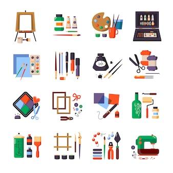 Conjunto de iconos de herramientas y materiales de arte para pintar.