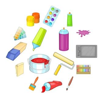 Conjunto de iconos de herramientas de pintor, estilo de dibujos animados