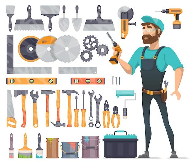 Conjunto de iconos de herramientas de reparación de hogar