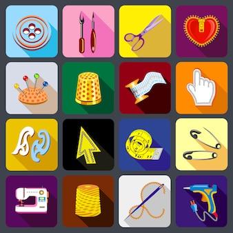 Conjunto de iconos de herramientas de sastre.