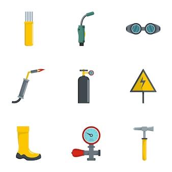 Conjunto de iconos de herramientas de soldadura, estilo de dibujos animados