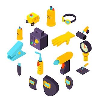 Conjunto de iconos de herramientas de soldadura, estilo isométrico
