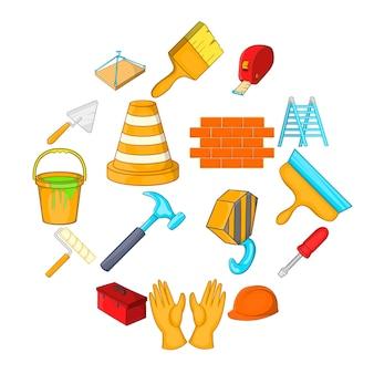 Conjunto de iconos de herramientas de trabajo, estilo de dibujos animados
