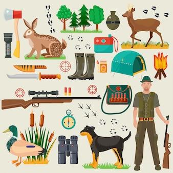 Conjunto de iconos de herramientas turísticas cazador