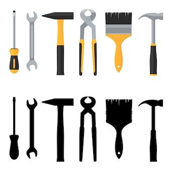 Conjunto de iconos de herramientas de vector de reparación y construcción