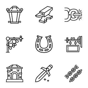 Conjunto de iconos de herrero, estilo de contorno