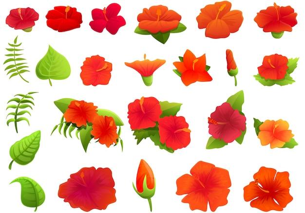 Conjunto de iconos de hibisco. conjunto de dibujos animados de iconos de hibisco para web