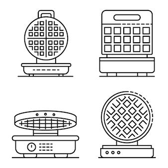 Conjunto de iconos de hierro de gofres. esquema conjunto de iconos de vector de hierro de galleta