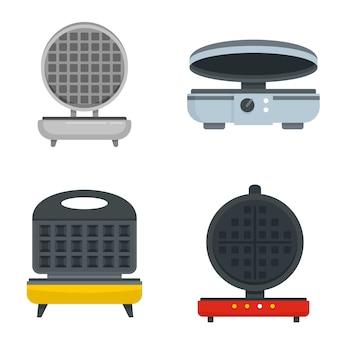 Conjunto de iconos de hierro waffle