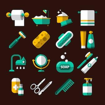Conjunto de iconos de higiene y baño