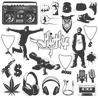 Conjunto de iconos de hip hop