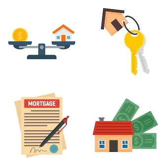 Conjunto de iconos de hipoteca