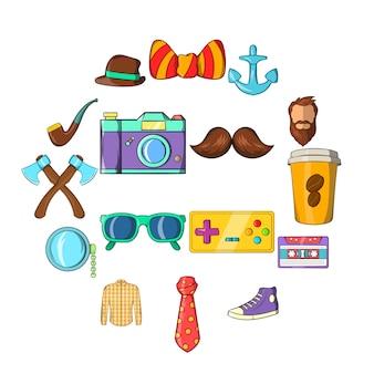 Conjunto de iconos de hipster, estilo de dibujos animados
