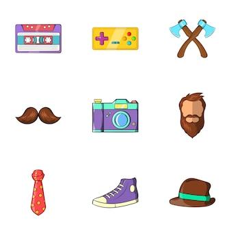 Conjunto de iconos hipster, estilo de dibujos animados