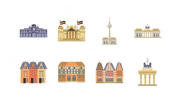 Conjunto de iconos de hitos de alemania variedad