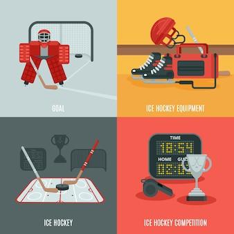 Conjunto de iconos de hockey