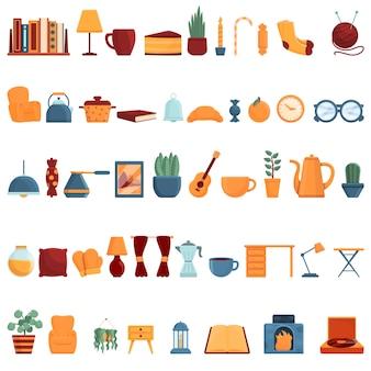 Conjunto de iconos de hogar acogedor. conjunto de dibujos animados de iconos de vector de hogar acogedor